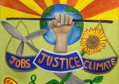 jobs,justice,climate, with hand